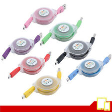 Cable USB / micro USB Retractil de Carga / Sinc. Varios colores - Luz LED