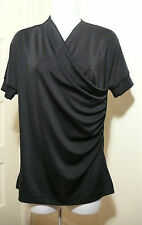 PHILOSOPHY DI ALBERTA FERETTI Women's Black Short Sleeve Dolman Blouse  Sz 10