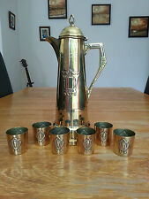 Art nouveau Brass Wine / claret Jug Pitcher + 6 glass holders WMF Jugendstil
