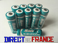 10 PILES ACCUS RECHARGEABLE NI-MH 2000mAh 1.2V AA LR06 LR6 R6 R06 MIGNON HYPER