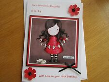 LARGE A5 Personalised Handmade SIMPLY GORJUSS Birthday Card: Daughter 16th 21st