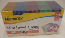 Memorex 50 Slim Jewel Cases 5 colors ...Brand NEW Sealed... Low Cost Shipping...