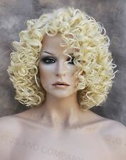 Short Corkstrew Human Hair Blend wig Blonde Heat Safe mel 613