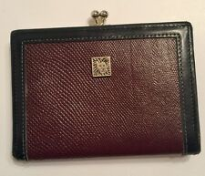 ANNE KLEIN St Thomas Black/brown Leather TriFold Credit Card Wallet w/ Lion