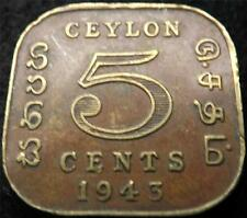 1943 GEORGE VI CEYLON 5 CENTS COIN