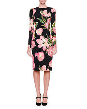 Dolce & Gabbana Long-Sleeve Tulip-Print Dress,Orig $2275 Size - 42IT/8US