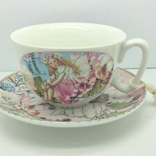 VINTAGE STYLE FINE CHINA TEACUP & SAUCER TEA SET PINK FAIRY GIFT BOX SHABBY CHIC