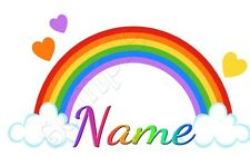 IRON ON TRANSFER PERSONALISED (ANY NAME) RAINBOW HEARTS CLOUD #6 14x8cm