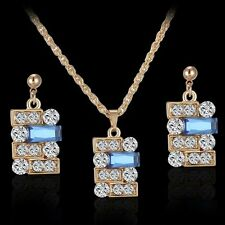 Blue Gem Rhinestone Crystal  Pendant Geometric Necklace Earrings Jewelry Set