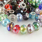 WHOLESALE FACETED CRYSTAL GLASS FINDINGS EUROPEAN BEADS FIT CHARMS BRACELETS