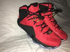 Nike Men's LeBron 12 Ext Red Paisley Aka King Cloak Basketball Shoes Size 9.5