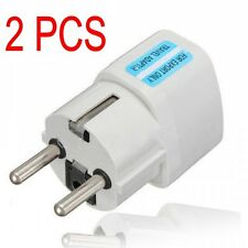 2pcs Portable UK US AU to EU European Power Socket Plug Adapter Travel Converter