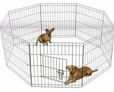 XXL Wire Fence Pet Dog Folding OxGord Tall Exercise Yard 8 Panel Metal Play-Pen