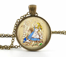 Alice in Wonderland Necklace Vintage Antique Pic Pendant Jewellery Glass Charm