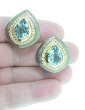 LEO de VROOMEN  18K  AQUAMARINE &  DIAMOND  ENAMEL  EARRINGS
