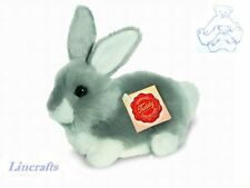 Crouching Grey/White Rabbit Plush Soft Toy by Teddy Hermann Collection 93769