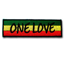 One Love Patch Iron on Bob Marley Hippie Retro Rock Rasta Ska Music Sew Pot Band