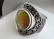 Sublime, chunky, elaborate 18g golden MOP full HM 925 sterling silver ring N-N.5