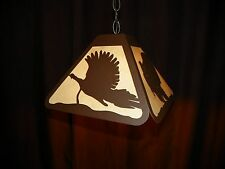 Laser cut Steel TURKEY Bar Desk Pendant Dart Board Light Lamp rustic hunt cabin