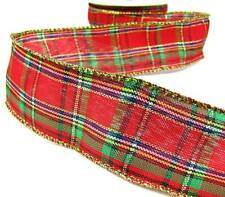 "2 Yds Christmas Red Green Gold Plaid Wired Ribbon 1 1/2""W"