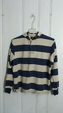 AMERICAN EAGLE OUTFITTERS BLUE AND BEIGE STRIPED HOODIE MEDIUM LONG SLEEVE