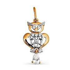 585/14ct Russian Rose Gold Lovely Owl Pendant Gift Boxed