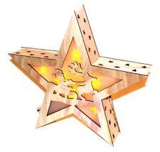 Led Stern Holz 3D  Weihnachtsmann Lichterkette Weihnachtsdekoration Rentier
