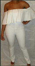 WHITE OFF THE SHOULDER FRILL FITTED JUMPSUIT 8  CAT SUIT PLAY SUIT