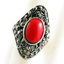 TURQUOISE RING fashion retro vintage style pattern Finger Adjustable silver red