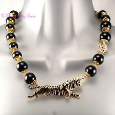 Jet Black Bead Gold Tiger Toggle Collar Statement Necklace w/ Swarovski Crystals