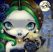 Fairy Face 145 Jasmine Becket-Griffith Gothic Dog Cemetery Pug SIGNED 6x6 PRINT