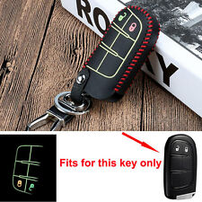 Night Glow Leather Smart Remote Key Holder Cover Case Fob 2Button For Jeep Dodge