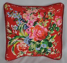 Ralph Lauren Belle Harbor Red Floral Custom Pillow with Satin Trim Cord 12""
