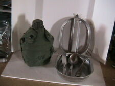 MILITARY CANTEEN W/INSULATED COVER PLUS COMPLETE MESS KIT W/KNIFE FORK AND SPOON