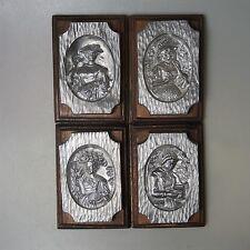 4 x Zinn Relief Bild massiv Zinn auf massiv Eiche über 4 Kg Pewter Etain