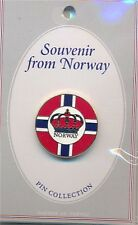 Lapel Pin Round Norway Flag Shield Crown.
