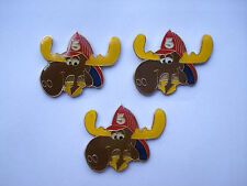 VINTAGE ROCKY & BULLWINKLE OLD CARTOON COMIC USA FIREMAN AT PIN BADGE LOT X3 99p