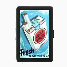 Lucky Strike Black Cigarette Case D27 Metal Wallet Vintage Cigarette Smoking Ad