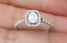 New 10K 0.8ct Diamond Emerald Cluster Halo Engagement Ring White Gold Size 7