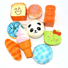 9PCS 10cm Jumbo Squishy Sweet Roll Panda Puffs Buns Bread Toast Toy Slow Rising