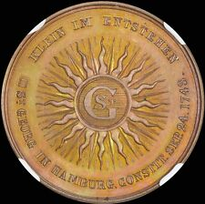 FINEST & ONLY ONE @ PCGS & NGC MS64 1843 GERMANY LODGE ST GEORGE MEDAL TONED