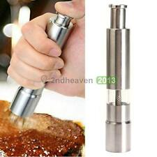 Stainless Thumb Push Salt Pepper Grinder Spice Sauce Mill Muller Stick Chief Kit