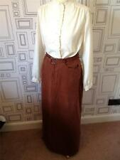 VINTAGE 80's BROWN SILK BELTED MAXI FULL LENGTH SKIRT SMALL UK 8-10