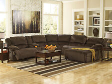 AVERY-6pcs Brown Microfiber Recliner Sofa Couch Chaise Sectional Set Living Room