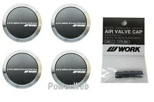 4pcs WORK Rims EMOTION Flat Center Caps and 4pcs Air Valve caps Black Value set