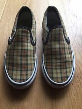 RARE VANS SLIP ON SHOES TAN CANVAS CHECK PLAID MENS Size 5 Women's 6.5  Sneakers