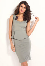 Sexy Women's Grey Elegant Modern Peplum Smart Dress with Satin Inserts