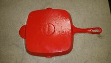"Technique Red Cast Iron Square 9 1/2"" Skillet grill pan  Enamelware Pour Spouts"