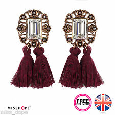 NEW CRYSTAL TASSELS PURPLE HANDMADE GOLD BOHEMIA DROP EARRINGS DANGLE WOMENS UK