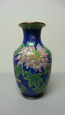 "ANTIQUE CHINESE CLOISONNE ENAMEL ON BRONZE 9"" VASE, COBALT BLUE"